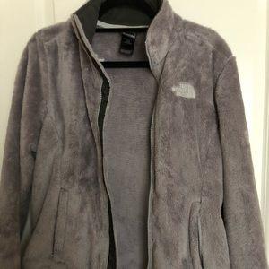 47e4358ce The North Face Grey Fuzzy Fleece Jacket